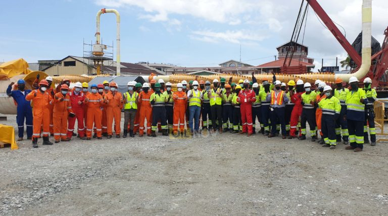 Guyanese workers assemble massive subsea jumpers for Liza Phase 2 Development